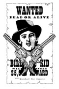 Reward Drawings Prints - Billy the Kid Print by Scarlett Royal