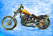 Stars And Stripes Mixed Media Posters - Billys Bike Poster by Russell Pierce