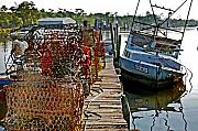 Shrimp Boat Prints - Billys Nets and Sinking Work Boat Print by Michael Thomas