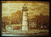 Nautical Pyrography - Biloxi Lighthouse by Bob Renaud