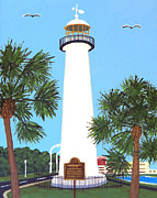 Historic Buildings Paintings - Biloxi Lighthouse by Frederic Kohli