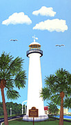 North American Lighthouses - Paintings By Frederic Kohli - Biloxi Lighthouse Painting by Frederic Kohli