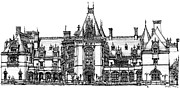 Buildings Drawings Prints - Biltmore House in Asheville  Print by Lee-Ann Adendorff