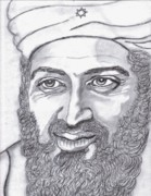 Arabia Drawings Framed Prints - Bin Laden Framed Print by Richard Heyman