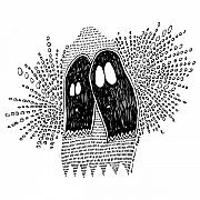 Ghost Drawings Prints - Binary Ghost Print by Karl Addison