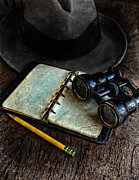 Detective Art - Binoculars Fedora and Notebook by Jill Battaglia
