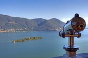 Binoculars Photos - Binoculars focused on the Isole di Brissago by Joana Kruse