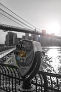 Nyc Pyrography Posters - Binoculars NYC view Poster by AHcreatrix
