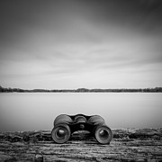 Sweden Prints - Binoculars On Plank Print by Peter Levi
