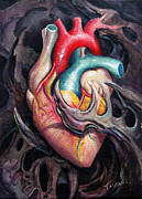 Organic Painting Framed Prints - Bio Heart Framed Print by Matt Truiano