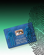 Identification Symbol Framed Prints - Biometric Id Card Framed Print by Victor Habbick Visions