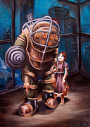 Nerd Painting Framed Prints - Bioshock Framed Print by Emily Jones