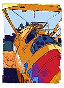 Diane Berry Drawings - BiPlane by Diane E Berry