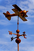 Planes Framed Prints - Biplane weather vane Framed Print by Garry Gay