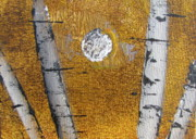 Silver Moonlight Paintings - Birch - Gold 5 by Jacqueline Athmann