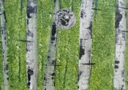 Silver Moonlight Paintings - Birch - Green 3 by Jacqueline Athmann
