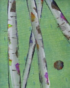 Silver Moonlight Paintings - Birch - Lt. Green 2 by Jacqueline Athmann