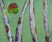 Silver Moonlight Paintings - Birch - Lt. Green 3 by Jacqueline Athmann