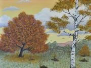 Autumn Landscape Painting Originals - Birch and Oak Frienship by Georgeta  Blanaru