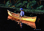 Canoe Painting Posters - Birch-bark Canoe Poster by Edward Coumou