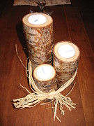 Gifts Sculpture Originals - Birch Candle Holders. Set of Three by Misty Mueller