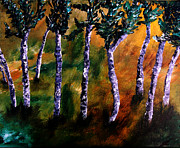 Angela Pari Dominic Chumroo Prints - Birch Forest Print by Angela Pari  Dominic Chumroo
