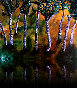 Acrylics On Canvas Paintings - Birch Forest Reflections by Angela Pari  Dominic Chumroo