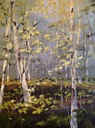 Spring Time Painting Originals - Birch Forest by Sandra Strohschein