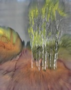 Autumn Landscape Tapestries - Textiles Prints - Birch Grove 1 Print by Carolyn Doe