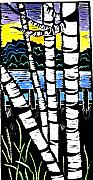 Linocut Mixed Media Posters - Birch Lake Poster by Jane Croteau