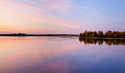 Birch Lake Prints - Birch Lake Sunset Print by Adam Pender