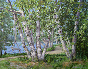 Swing Paintings - Birch Lane by L Diane Johnson