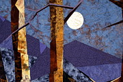 Fiber Art Tapestries - Textiles Prints - Birch Moon Print by Linda Beach