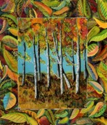 Orange Trees Tapestries - Textiles - Birch Ridge Walk by Carolyn Doe
