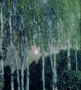 Moonlit Night Paintings - Birch Trees by Aleksandr Jakovlevic Golovin