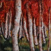 Trees Sculpture Metal Prints - Birch Trees in Autumn Metal Print by Alison  Galvan