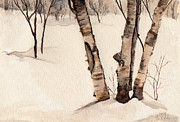 Snowy Trees Paintings - Birch Trees In the Snow by Barb Kirpluk