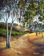 Napa Valley Vineyard Paintings - Birch Trees in the Vineyard by Patrick ORourke