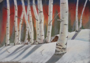 Aspen Trees Pastels Prints - Birch trees in winter Print by Charles Hubbard