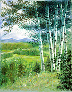 Smoky Mountains Paintings - Birch Trees by John Lautermilch