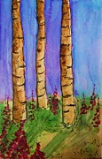 Fire Weed Prints - Birch Trees Print by Laurie Larkin-Boyle