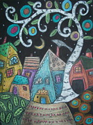 Houses Pastels Posters - Birch Village Poster by Karla Gerard