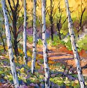 Birches Framed Prints - Birches 02 Framed Print by Richard T Pranke