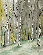 Maine Artist Paintings - Birches Before Spring by Brenda Owen