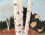 Fall Drawings Framed Prints - Birches Framed Print by Betsy Gray Bell