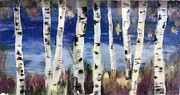 Impressionist Landscape Glass Art Acrylic Prints - Birches Acrylic Print by Cathy Weaver