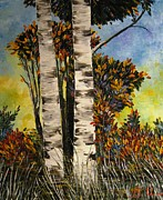 Birches For My Friend Print by AmaS Art