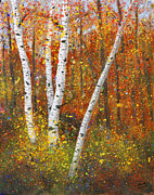 Birches Posters - Birches Poster by Garry McMichael