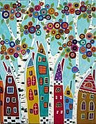 Folk Art  Paintings - Birches Houses and Blooms by Karla Gerard