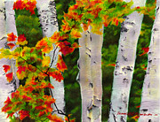 Oil Pastel Paintings - Birches I Autumn Showers by Bernadette Kazmarski